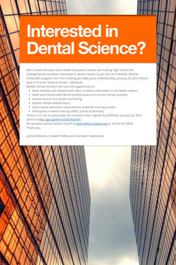 Interested in Dental Science?