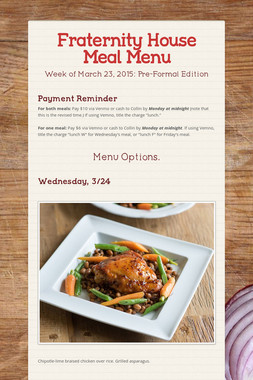 Fraternity House Meal Menu