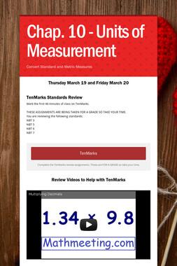 Chap. 10 - Units of Measurement