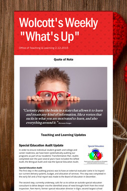 """Wolcott's Weekly """"What's Up"""""""