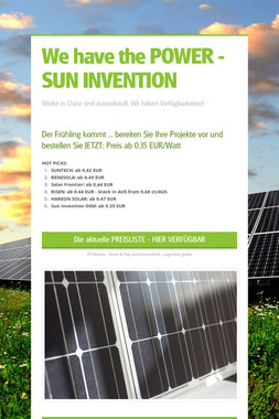 We have the POWER - SUN INVENTION