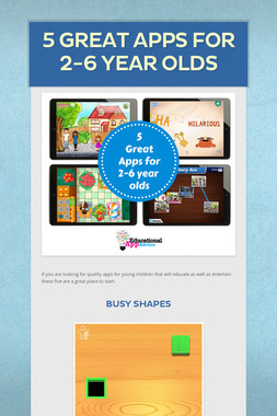 5 Great Apps for 2-6 Year Olds