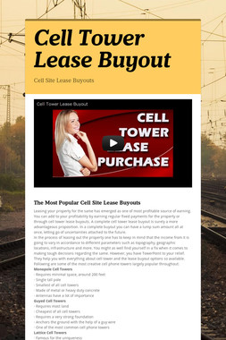 Cell Tower Lease Buyout