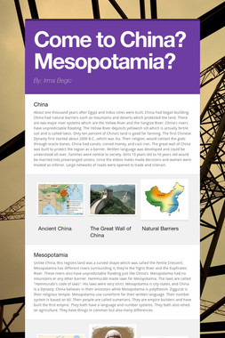 Come to China? Mesopotamia?