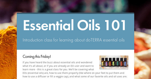 Essential Oils 101 Smore Newsletters
