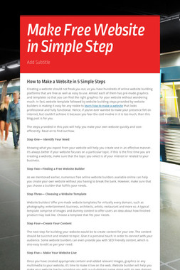 Make Free Website in Simple Step