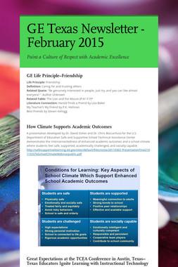 GE Texas Newsletter - February 2015