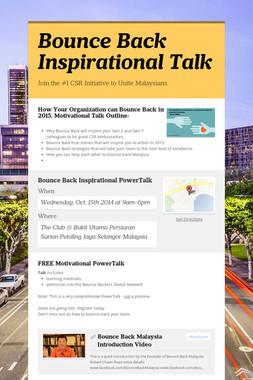 Bounce Back Inspirational Talk