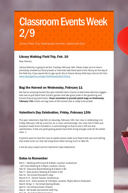 Classroom Events Week 2/9