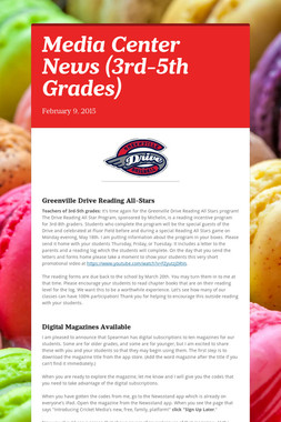 Media Center News (3rd-5th Grades)