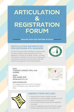 Articulation & Registration Forum