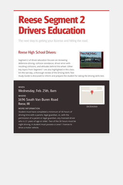 Reese Segment 2 Drivers Education