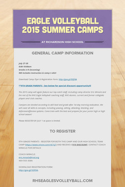 EAGLE VOLLEYBALL 2015 SUMMER CAMPS