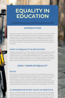 Equality in Education