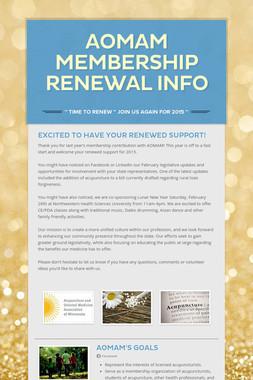 AOMAM Membership Renewal Info
