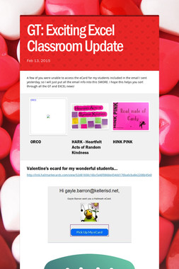 GT: Exciting Excel Classroom Update