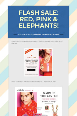 FLASH Sale: Red, Pink & Elephants!