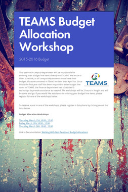TEAMS Budget Allocation Workshop