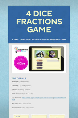 4 Dice Fractions Game