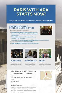 PARIS WITH APA STARTS NOW!