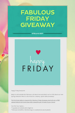 Fabulous Friday Giveaway