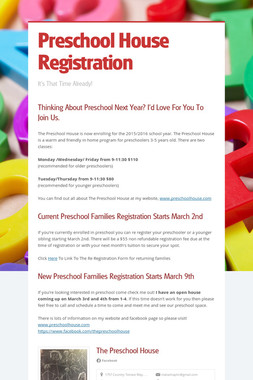 Preschool House Registration