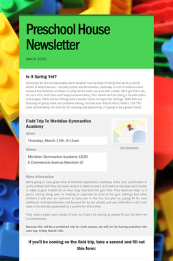 Preschool House Newsletter