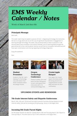 EMS Weekly Calendar / Notes