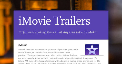 iMovie Trailers   Smore Newsletters