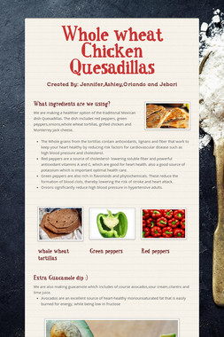 Whole wheat Chicken Quesadillas