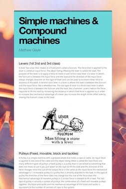 Simple machines & Compound machines