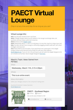 PAECT Virtual Lounge