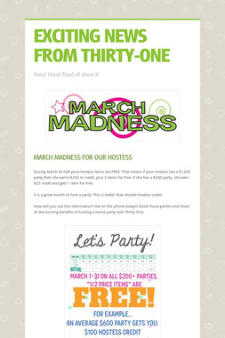 EXCITING NEWS FROM THIRTY-ONE