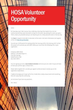 HOSA Volunteer Opportunity