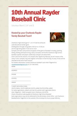 10th Annual Rayder Baseball Clinic