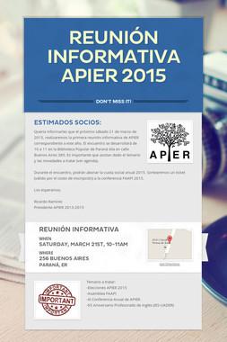 Reunión Informativa APIER 2015