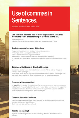 Use of commas in Sentences.