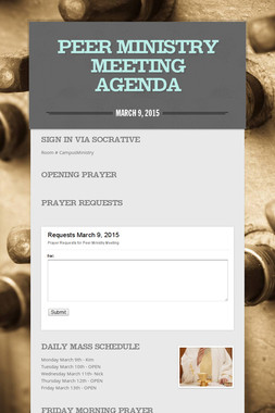 Peer Ministry Meeting Agenda