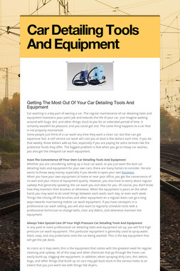 Car Detailing Tools And Equipment