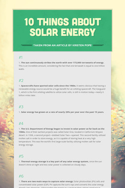 10 Things About Solar Energy