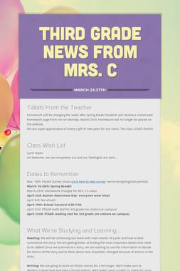 Third Grade News from Mrs. C
