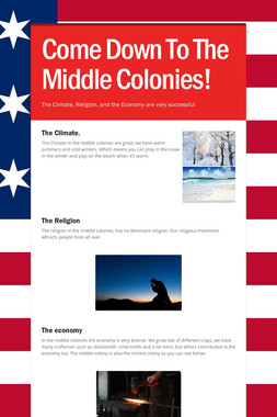 Come Down To The Middle Colonies!