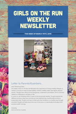 Girls on the Run Weekly Newsletter