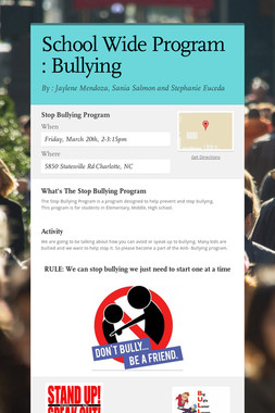 School Wide Program : Bullying