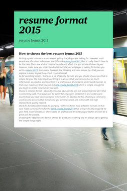 resume format 2015