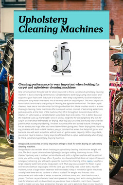 Upholstery Cleaning Machines