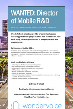 WANTED: Director of Mobile R&D