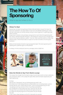 The How To Of Sponsoring