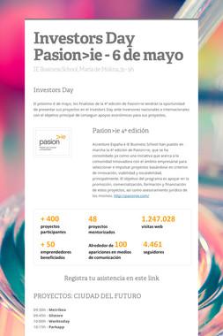 Investors Day Pasion>ie - 6 de mayo