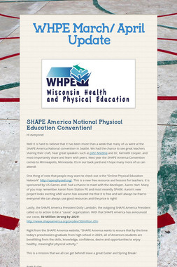 WHPE March/ April Update